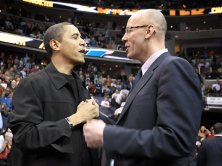 Mike Wise interviews a basketball fan at the Verizon Center.